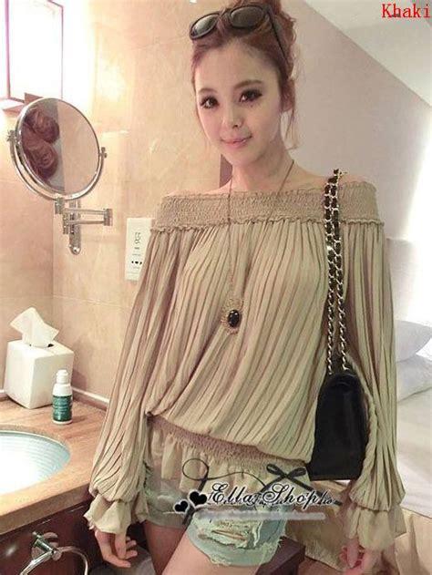 Japanese Style Blouse japanese style shoulder flare sleeve flounce blouse