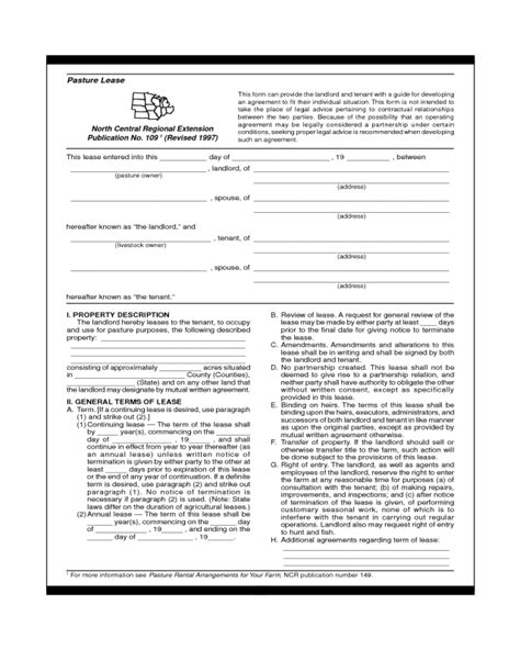 2018 Pasture Lease Agreement Fillable Printable Pdf Forms Handypdf Grazing Lease Agreement Template