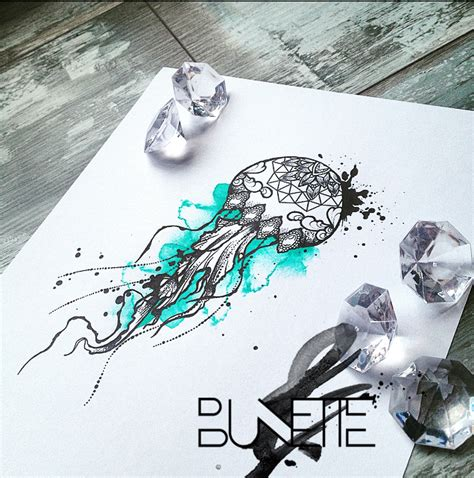 mandala jellyfish tattoo jellyfish watercolour dotwork mandala tattoo summer and