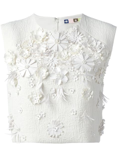 floral applique msgm floral appliqu 233 top in white lyst