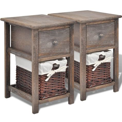 Pcs Cabinets by Vidaxl Shabby Chic Bedside Cabinets 2 Pcs Wood Brown