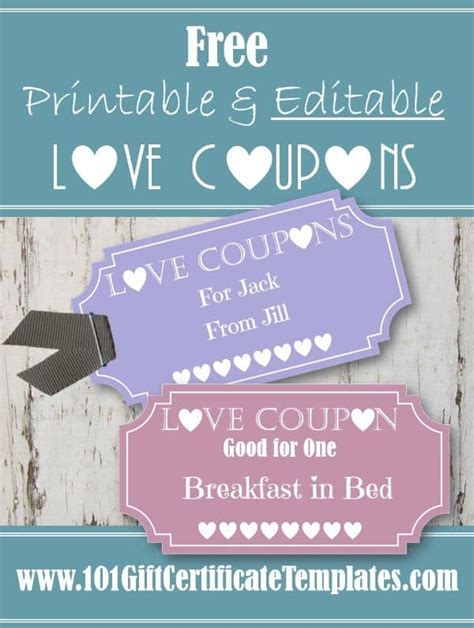 Free Editable Love Coupons For Him Or Her Free Editable Coupon Template