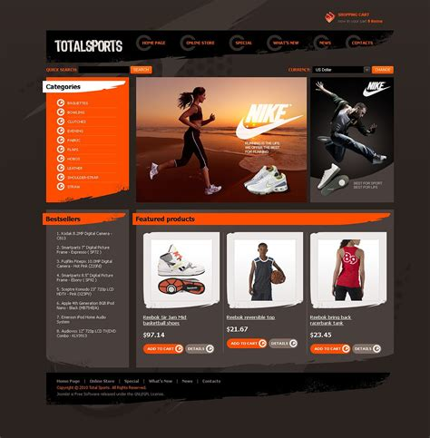 Total Sports Virtuemart Template 43891 Sports Website Templates