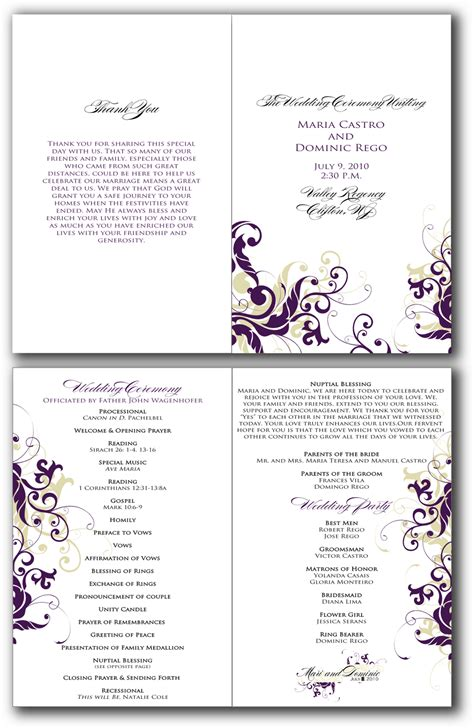 free printable wedding program templates word 7 best images of free printable retirement program