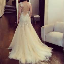 dress wedding white pretty backless long prom lace