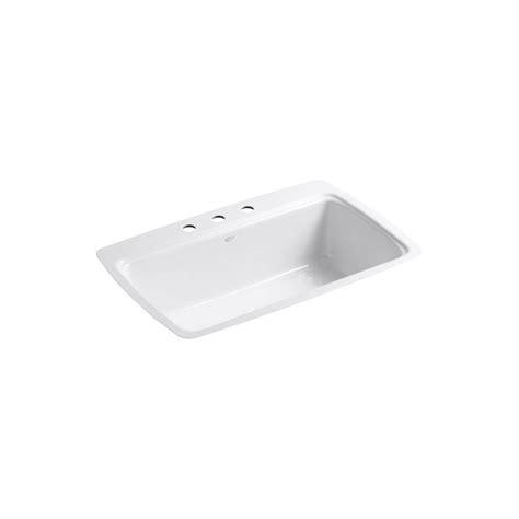 Tile In Kitchen Sink Kohler Cape Dory Tile In Cast Iron 33 In 3 Single Basin Kitchen Sink In White K 5864 3 0