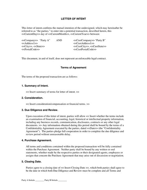 Agreement Letter Of Intent Letter Of Intent Agreement The Letter Of Intent Agreement Is Intended For Two Who