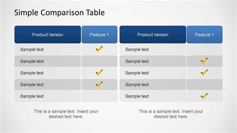 simple comparison table powerpoint template slidemodel