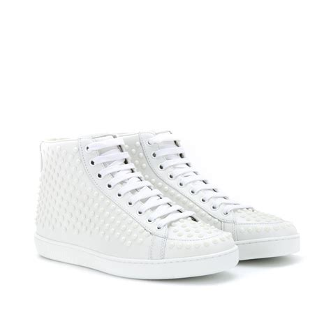 white leather sneakers gucci studded leather sneakers in white lyst