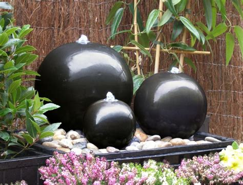 ceramic triple sphere water feature  led lights