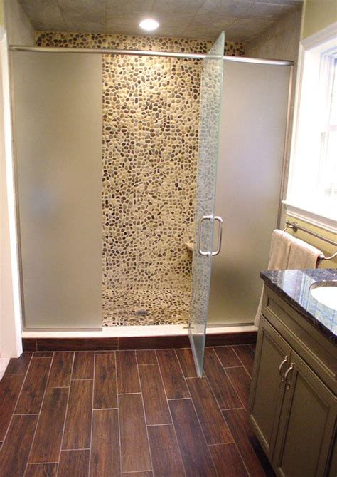 wood shower floor 11 best images about rock shower on pebble