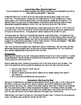 socratic seminar lesson plan template socratic seminar lesson plan lord of the flies tpt