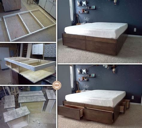 diy platform bed with drawers free bed frame plans with drawers woodworking projects