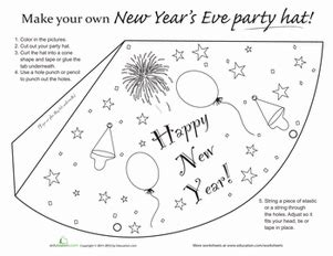 happy new year hat coloring pages worksheets education com