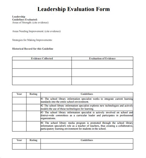 sample leadership evaluation form 9 free documents