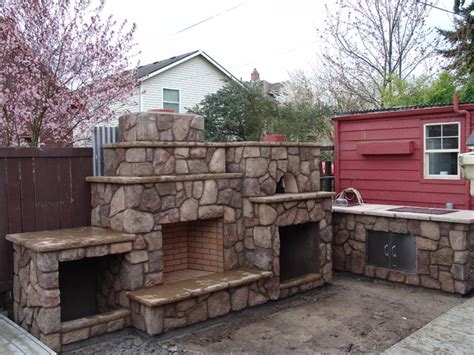 Bathroom Vanity Tops Ideas by Outdoor Fireplace With Pizza Oven Traditional Portland