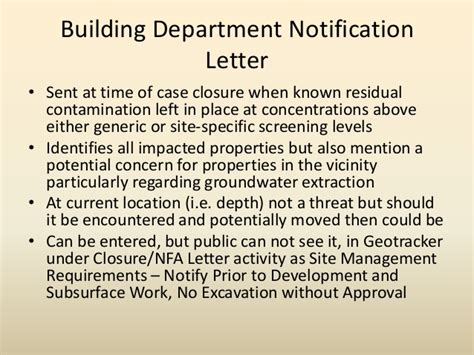Nfa Letter Requirement th f2 dealing with residual contamination