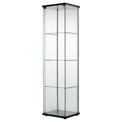 Black Glass Door Cabinet Detolf Glass Door Cabinet Black Brown 43x163 Cm Ikea