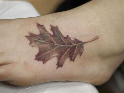 leaf tattoo designs oak leaf foot ideas