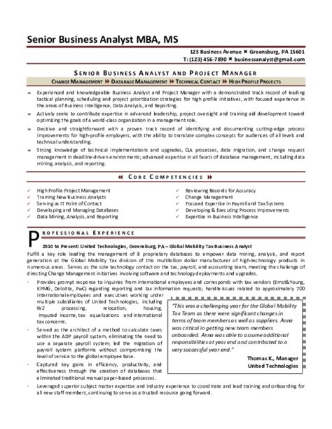 Senior Business Analyst Resume by Business Analyst Resume Sles Free Templates