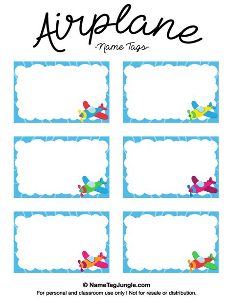 Printable Name Tags With Border | free printable airplane name tags with a blue border and