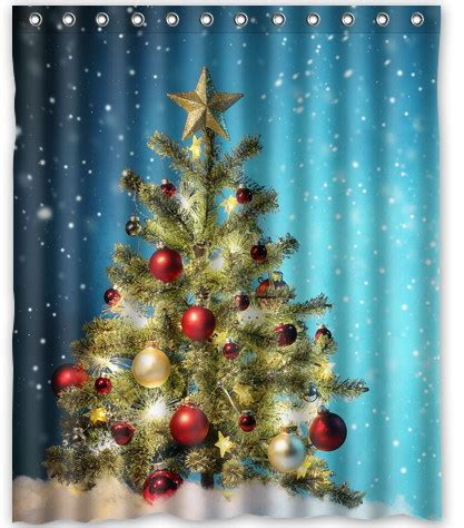 christmas fabric shower curtains 2014 fashion home decoration polyester fabric thicken
