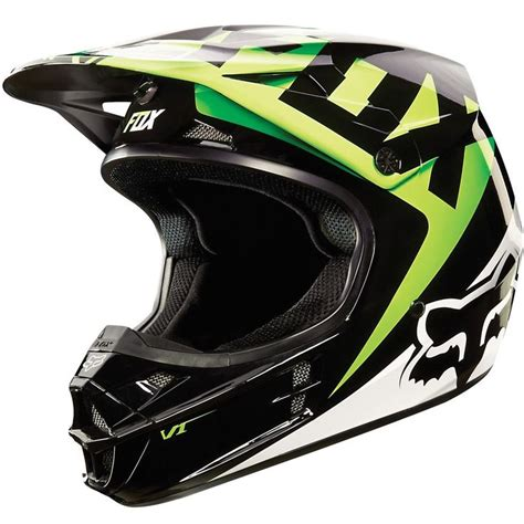 green motocross helmet fox racing v1 race mx snell helmet kawasaki green large