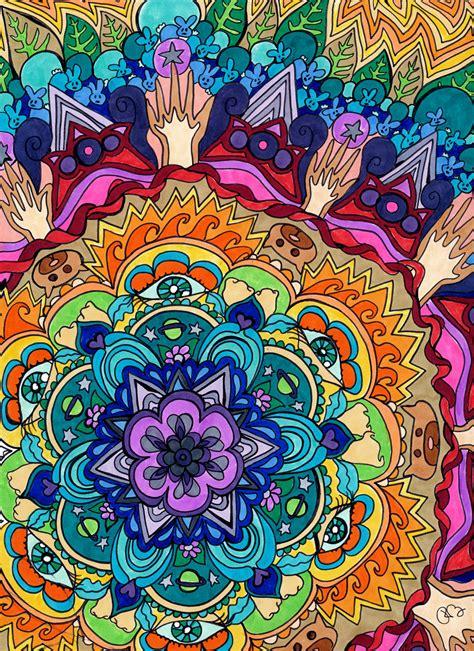 microcosm mandala print psychedelic rainbow spiritual