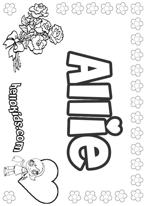 coloring page with name allie coloring pages hellokids com
