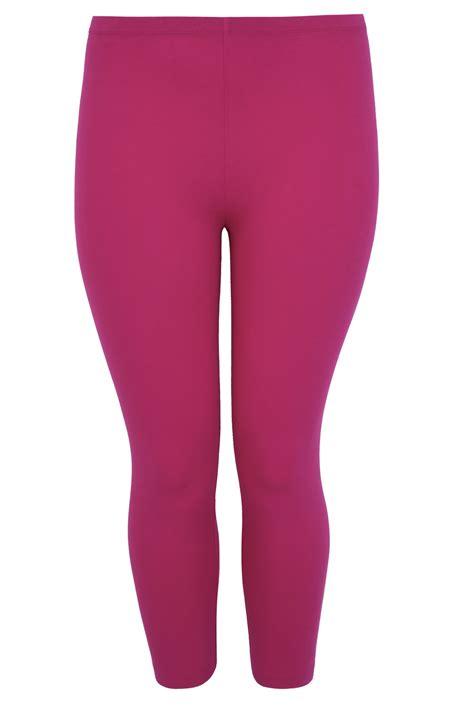 Cotton Legging Pink magenta pink cotton elastane cropped plus size 16