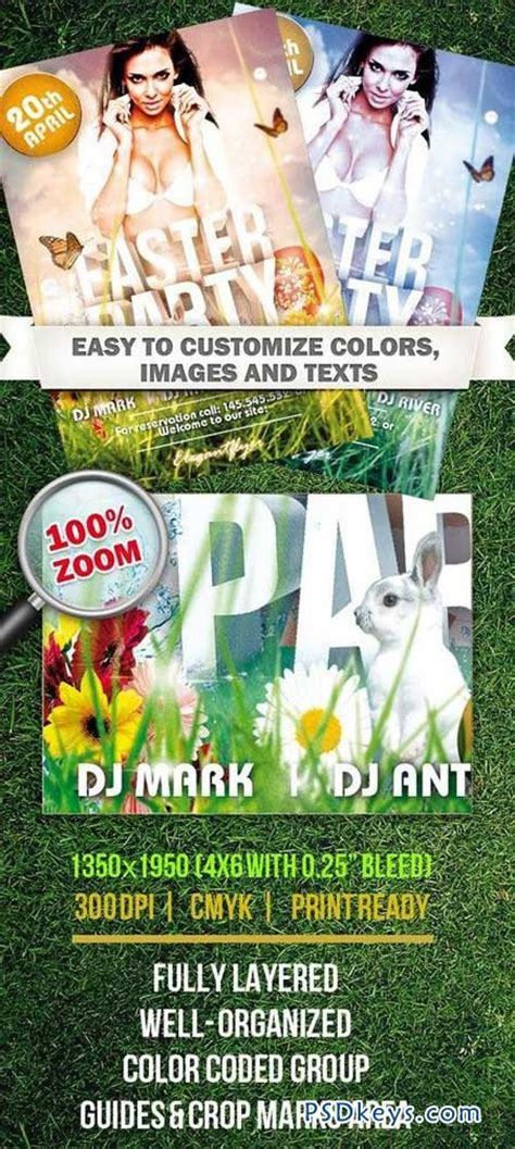 easter psd flyer template on a and ester