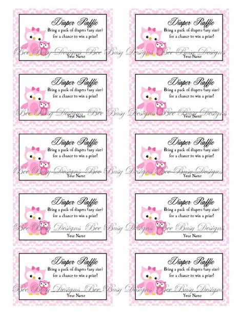 free printable raffle tickets for baby shower printable pink mom with little girl owl diaper raffle
