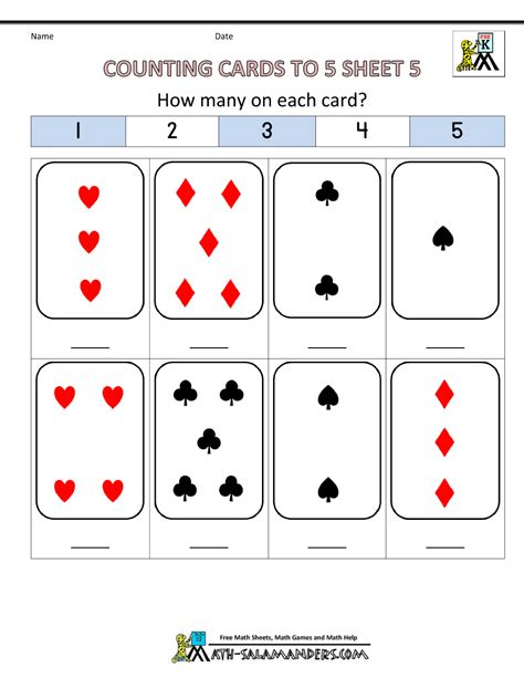 printable playing cards sheets preschool counting worksheets counting to 5