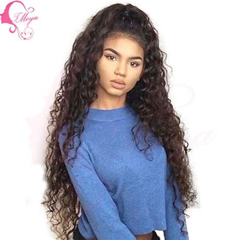 long black curly human hair wig long brazilian kinky curly lace front human hair wigs