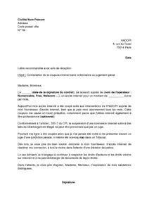 Lettre de contestation de la suspension d'une connexion