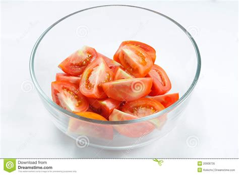 slices of design salad bowl by bosa stylepark sliced tomato in glass bowl royalty free stock photo