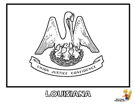 louisiana state flag coloring page coloring home