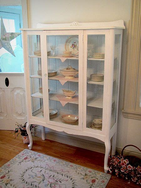white china cabinet  queen anne legs shabby chic china displays pinterest china