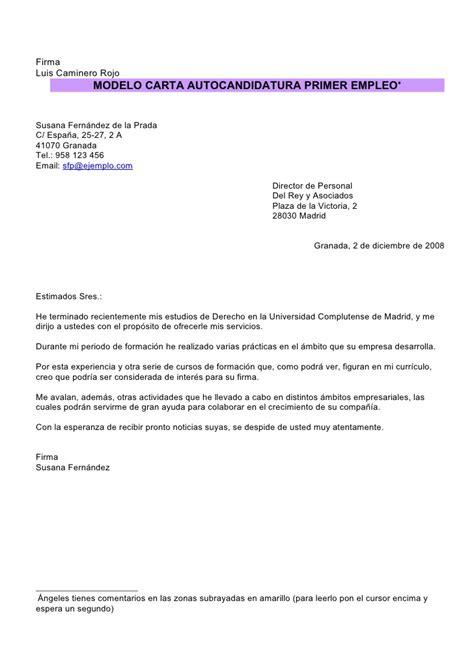 Modelo Carta Presentacion Curriculum Autocandidatura Modelo De Carta De Curriculum Newhairstylesformen2014