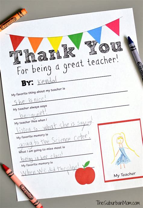 printable thank you notes for teachers to give to students diy crayon vase teacher gift