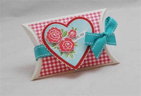 Gift Card Pillow Box - pillow box gift card holder heart with roses