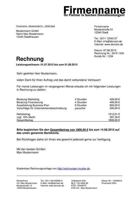 Muster Rechnung Honorar Rechnungsvorlagen Kostenlos Rechnungsvorlage F 252 R Jeden Zweck