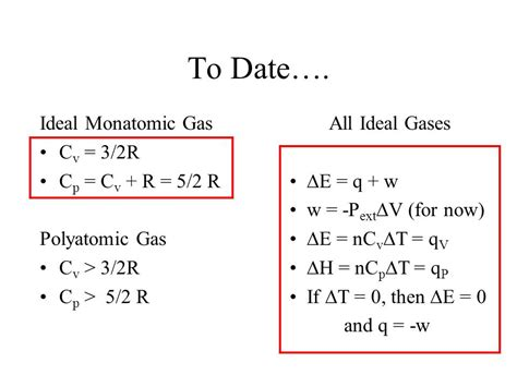 to date ideal monatomic gas cv 3 2r cp cv r 5 2