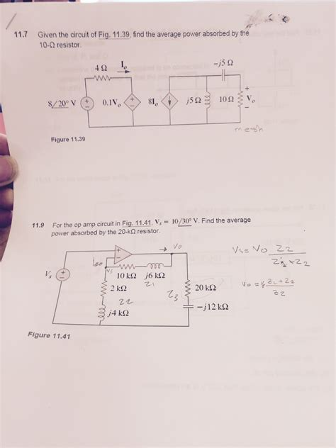 power absorbed by resistor given the circuit of fig 11 39 find the average chegg
