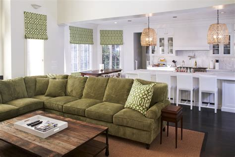 kitchen couch olive green sofa family room traditional with area rug