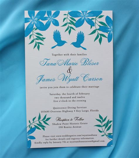 teal wedding invitations turquoise teal plumeria flowers birds wedding