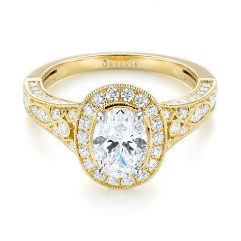 Two Tone Halo Engagement Ring - two tone yellow gold halo engagement ring 103483