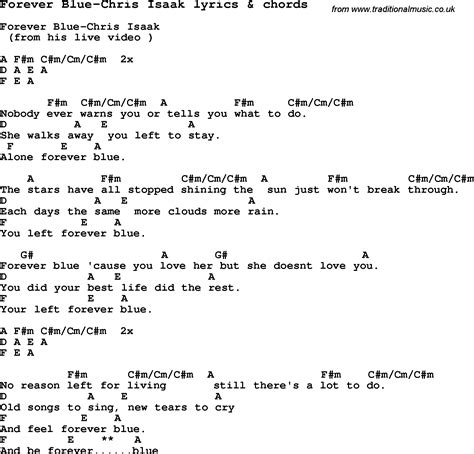 Forever House Lyrics by Song Lyrics For Forever Blue Chris Isaak With Chords