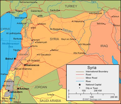 map of syria and surrounding countries syria map and satellite image