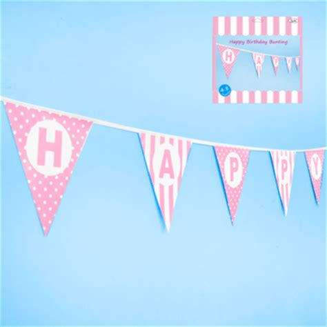Sale Bunting Flag Happy Birthday Banner Happy Birthday Th7702 happy birthday pink triangle flag banner bunting 4 8